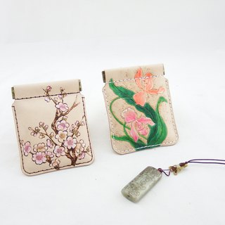 Handmade leather floral gold coin purse Christmas free packaging