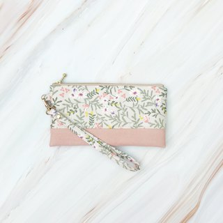 Romantic flowers, suede, cotton, carry-on bag, clutch bag
