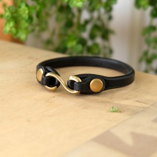 Brass S hook leather bracelet UK Bridle Leather