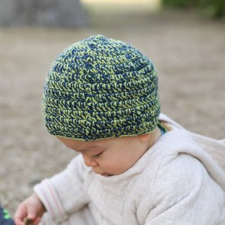 Blue and yellow green woolen hat