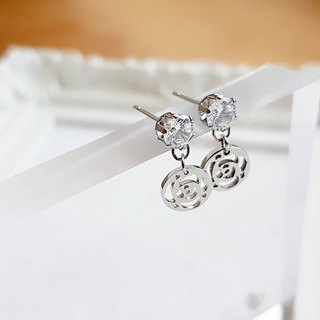 Belle blossoming crystal diamond rose silk flower crystal white steel ear needle is not afraid of water allergy