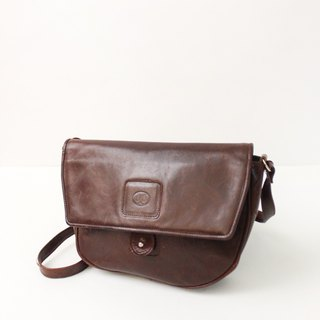 Vintage Leather Patent Leather Brown Simple Side Back Shoulder Bag European Antique Bag European Vintage Bag