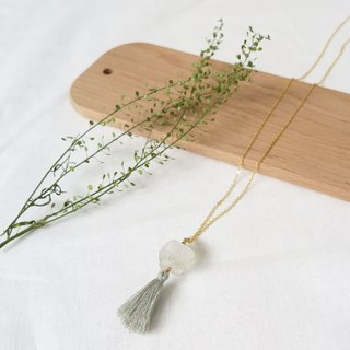 Simple Quartz Raw Stone long Necklace with Tassel