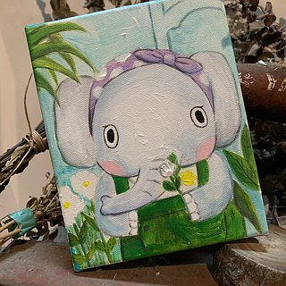 "Small frame original painting ""elephant"" flower artist 