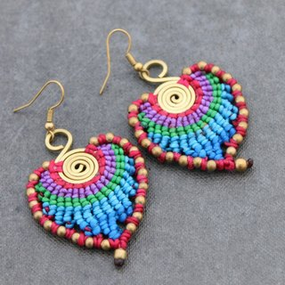 Macrame Earrings Rainbow Leaf Peacock Feather Colorful Dangle Drop