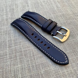 Tuscany Navy Blue Vegetable Tanned Leather Exclamation Hand Strap Strap Custom Strap