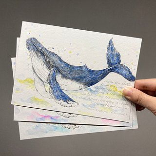 Hand-painted watercolor humpback whale postcard