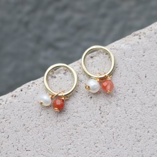 Pearl South Red Brass Earrings 1132 - Strong Gold Cup