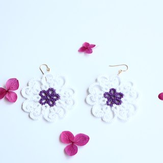 Tatting lace flower pierced earrings-white-14kgf