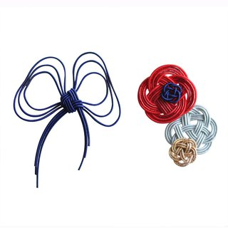 "Mizuhiki Pierced earrings ""Ribbon and flower"" -Navy×Red-"