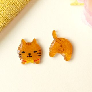Meow head and pat pat earrings - yellow