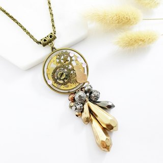 Steam punk - long necklace. Gear x old table accessories x cat x diamond