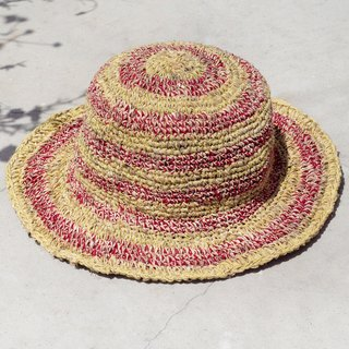 Valentine's Day gift limited a knitted cotton hood / weaving hat / fisherman hat / sun hat / straw hat - strawberry and lemon striped hand-woven hat