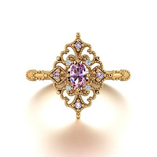 18k Gold Pink Sapphire Ring - Custom Jewellery - Antique Diamond Ring R053