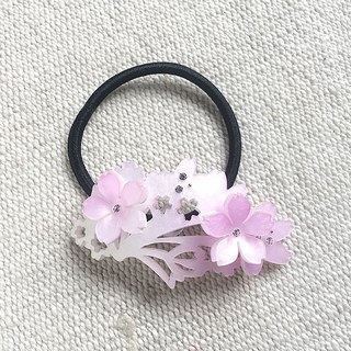 Cherry blossom, hair bundle, hair ring - cherry pink