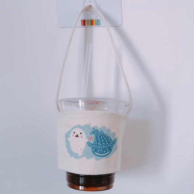 海豹鯨鯊 手繪環保杯袋 飲料袋