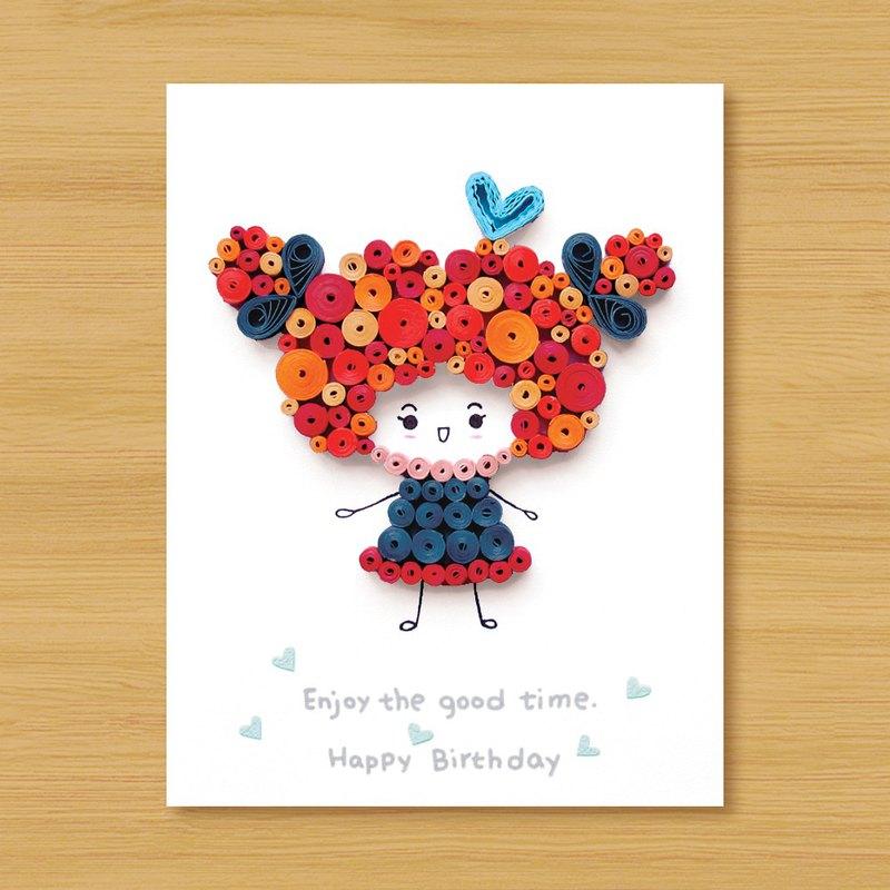 ( 4款供選擇 ) 手工捲紙卡片 _ Cute Girl - 生日卡 情人卡