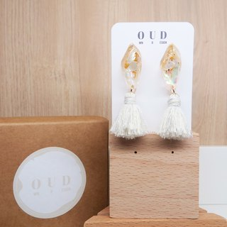 OUD Original-Natural Gem-14K gf-MOP Silver Cotton Tassel Dangle Earring/Clip-on