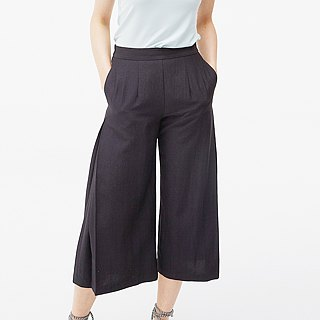Tencel cotton wide pants - black