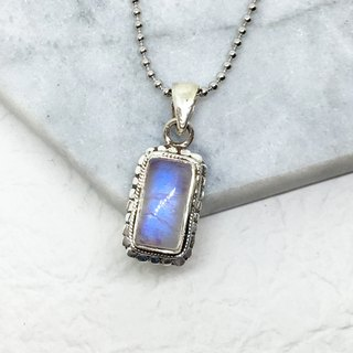 Moonlight stone 925 sterling silver tapping necklace Nepal handmade mosaic production (style 2)