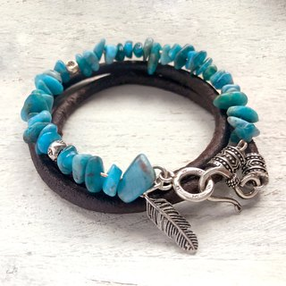 Leather & Silver Collection Natural Stone Bracelet / Kyanite / Sterling Silver / Leather Bracelets Custom Made Products