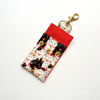 Fabric Chapstick Holder / Cats - Red