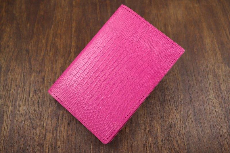 APEE皮手工~護照夾~蜥蜴皮紋~粉紅