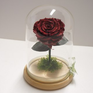 Diamonds are not withered roses large glass cover flower ceremony movie beauty and beast dark red limited edition