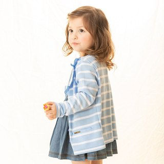 Modeling large lotus leaf collar stripe girls smock