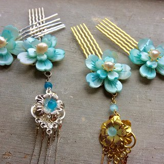Handmade ~ Chinese style antique shell double flower comb (water blue / pair / gold / silver)