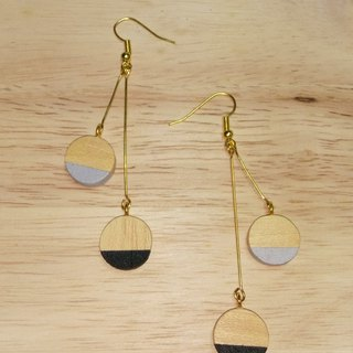 Round Wooden Earrings No.12