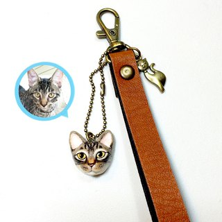 Custom cat & dog Keychains, Leather Keychains with your cat pendants