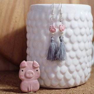 Pig set of earrings and brooch