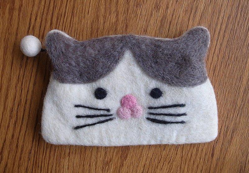 羊毛氈  手工 零錢包 動物 灰貓 貓