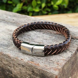 Trust - Leather Bracelet - Dark Brown (Genuine Cow Leather)