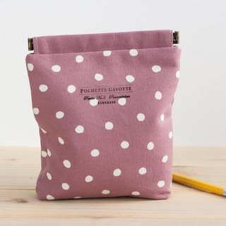 Charger case, Cosmetic pouch, Ditty bag, Make-up Case, Travel pouch / Polka dot dusty pale pink