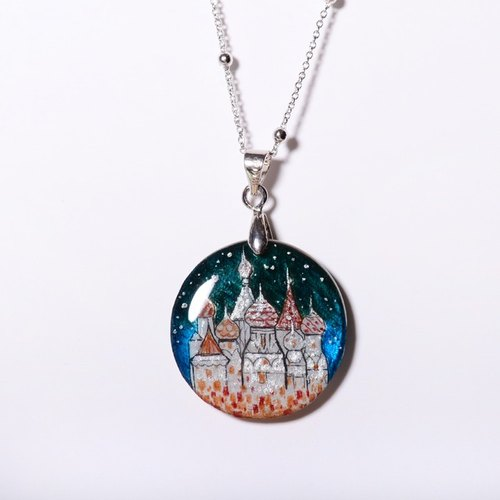 Fairy tale castle pure hand-painted color drawing drawing, electroplating platinum necklace, limited solitary goods only this one