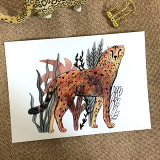 Go wild- leopard & big cats illustration postcard