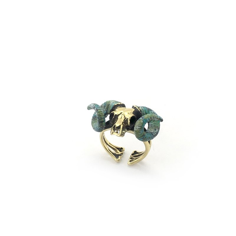 Zodiac Ramble skull ring is for Aries in Brass Patina color color ,Rocker jewelry ,Skull jewelry,Biker jewelry