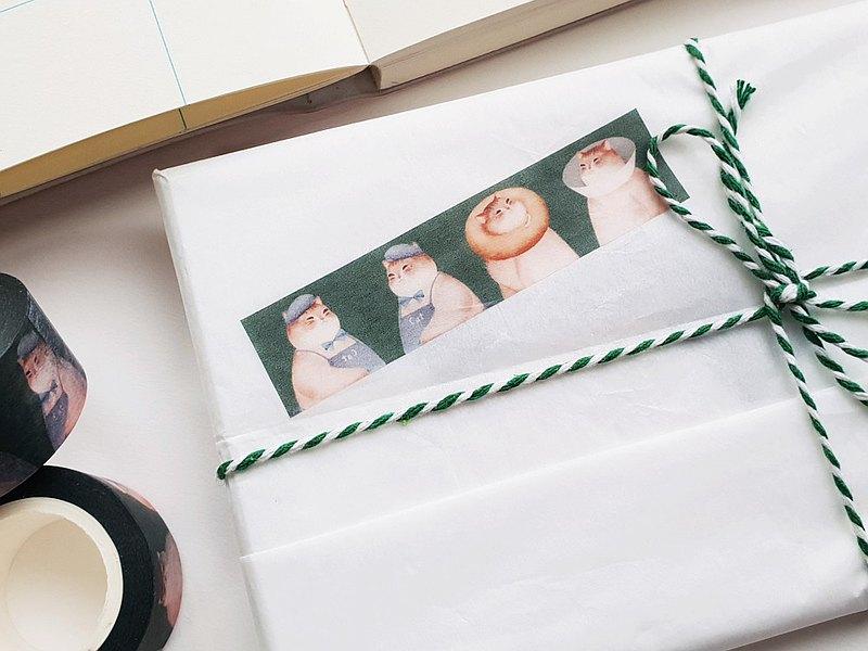 【貓咪集合的日子是綠色的】紙膠帶 |柔軟又毛茸茸的小日子系列
