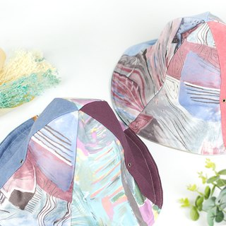 "Xiao Niu Village handmade double-sided hats men and women hats hats can be folded wind rope detachable super practical temperament Mother's Day gift ""pastel art"" [HB-05]"