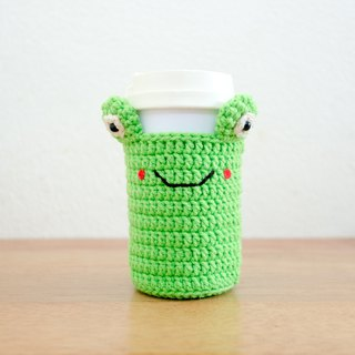 Crochet Cozy Cup - The Cute Frog / Coffee Sleeve, Starbuck.