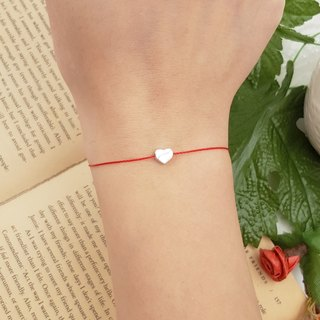 925 sterling silver solid love bean bean smooth / red line bracelet old hand rope love bean