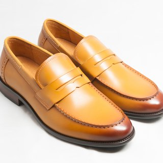 [LMdH] E1B20-89 hand-colored calfskin leather U-Tip Wood Love shoes shoes men's shoes - caramel - Free Shipping