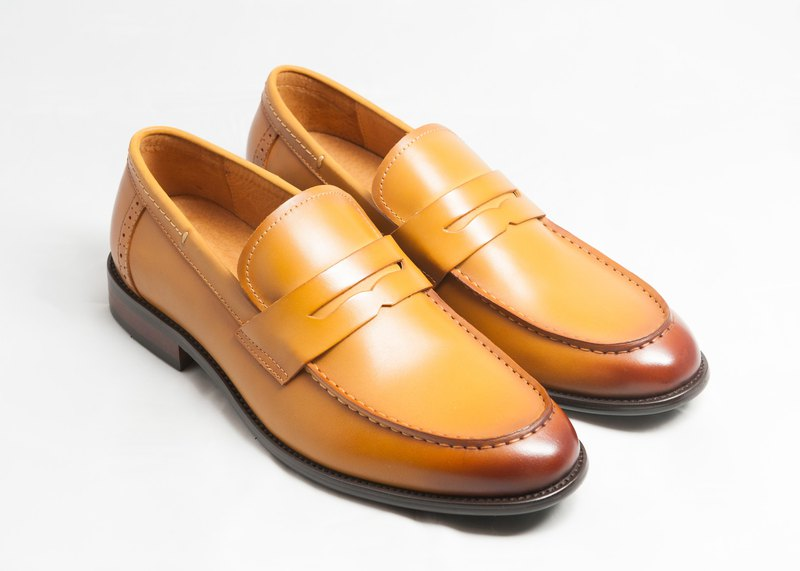 Hand-painted calfskin leather wooden heel loafers leather shoes men's shoes-caramel-E1B20-89