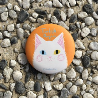 Big Head Cat badge - Turkish Angora Turkish Angora