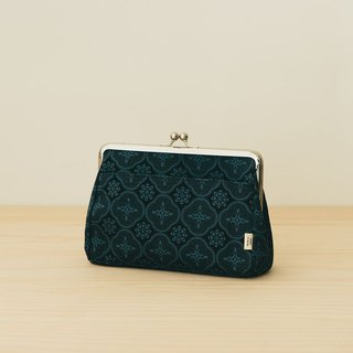 Clasp Frame Clutch/Begonia Glass Pattern/Midnight Navy