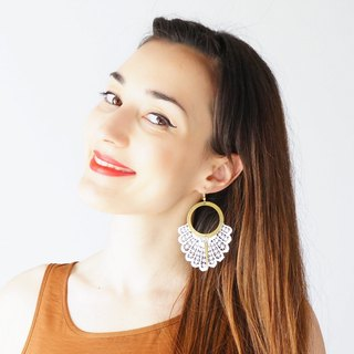 WHITE Statement Earrings Spring Fashion Summer Trends Lace Earrings Boho-Chic Fashion Bohemian Earrings Gift for Her Women Accessory Gift/ GELARI
