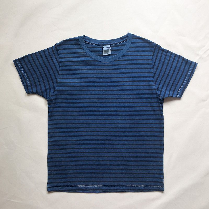 Striped TEE aizome aizen Indigo dyed