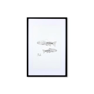 HomePlus Decorative Frame - Animal Geometric lines - FISH Black 63x43cm Homedecor